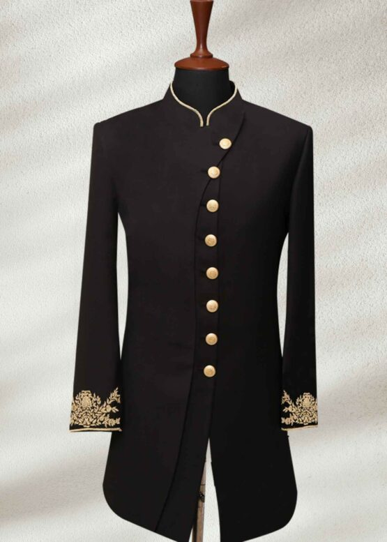 Ethnic Black Wedding Sherwani With Gold Embroidery Black Wedding Sherwani