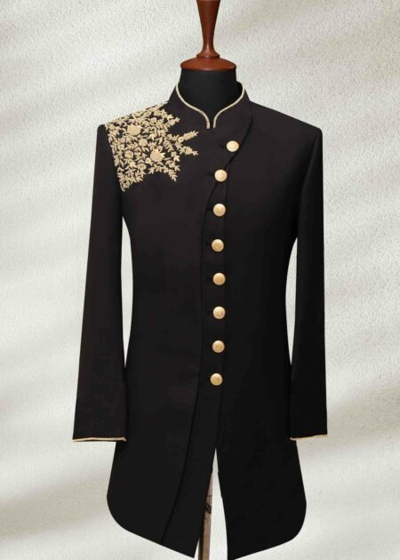 Modern Black Wedding Sherwani with Gold Embroidery
