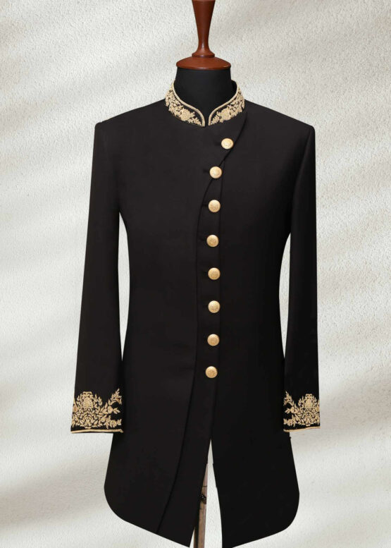 black wedding shervani for men with Gold Embroidery
