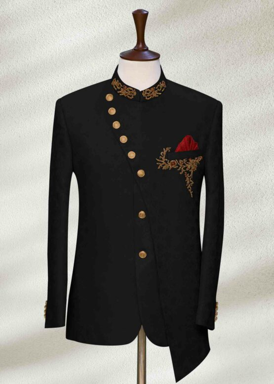 Dark Black Wedding Sherwani With Gold Embroidery