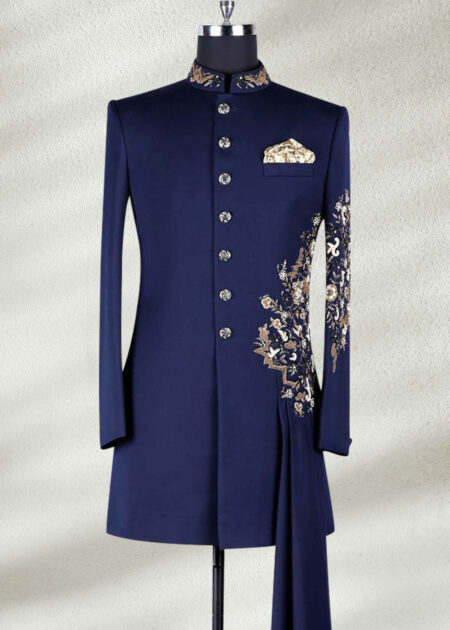 Dark Blue Wedding Sherwani With Threads Embroidery