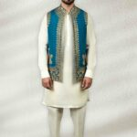Firozi Waistcoat With Gold Embroidery