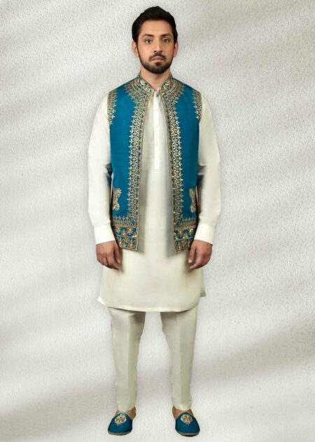 Firozi Waistcoat With Golden Embroidery
