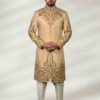 Golden Wedding Sherwani With Embroidery