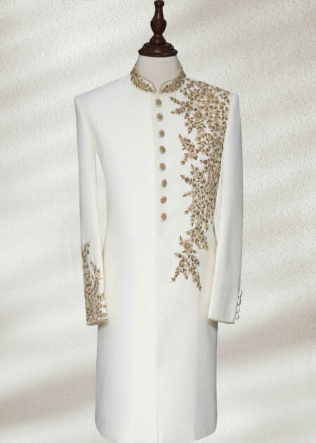 White Silk Sherwani With Gold Embroidery