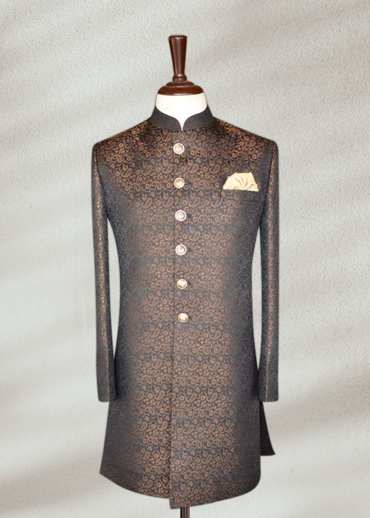 Get A Lustrous Look With Black and Gold Sherwani For Men Black and Gold Sherwani
