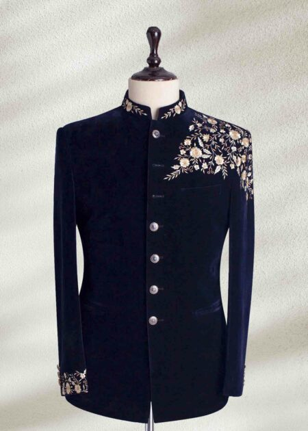 Blue Embroidered Prince Suit