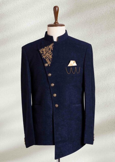 Blue Embroidered Angle Cut Prince Suit