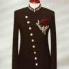 Brown Embroidered Angle Cut Prince Suit