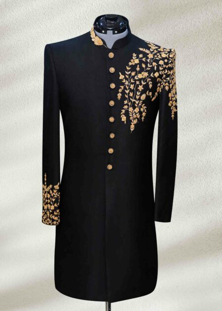 Royal Black Sherwani for Wedding with Embroidery