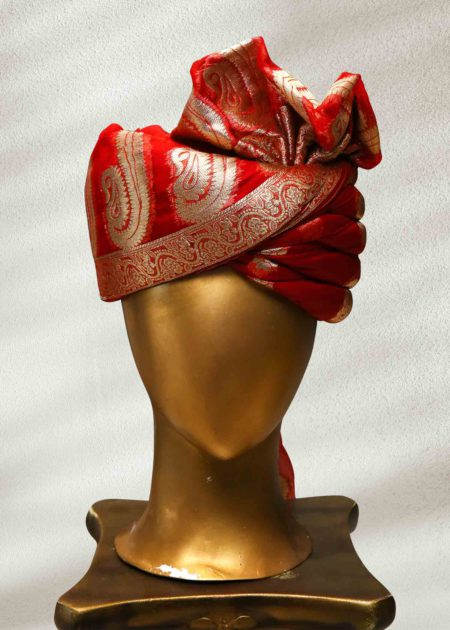 Red and Golden Rajasthani Turban